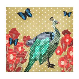 Canvas pintadas do pavão & do ouro das peônias impressão em tela