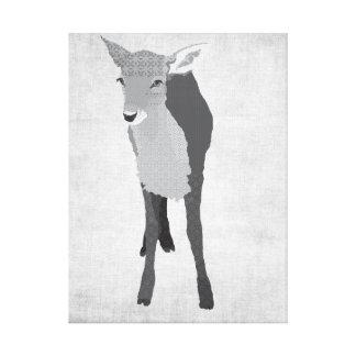 Canvas pretas & brancas da jovem corça de arte impressão de canvas esticada