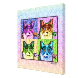 Canvas quadradas da galeria do pop art do gato impressão de canvas envolvidas