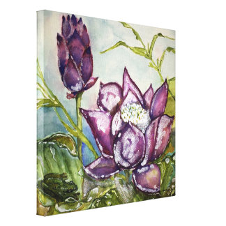 Canvas roxas 12x12 do impressão da aguarela do