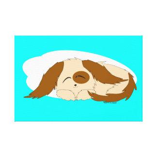 Canvas sonolentos pequenas bonitos do cão de impressão em tela
