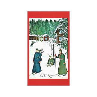 Canvas tranquilos da vila da neve do vintage da