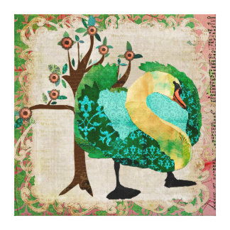 Canvas tropicais da história da cisne impressão de canvas envolvidas