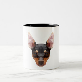Cão animal geométrico do Pinscher da caneca da