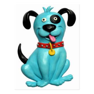Cão azul cartão postal