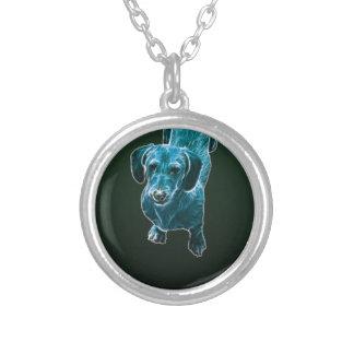 Cão azul do Dachshund de Fractalius Colar Personalizado