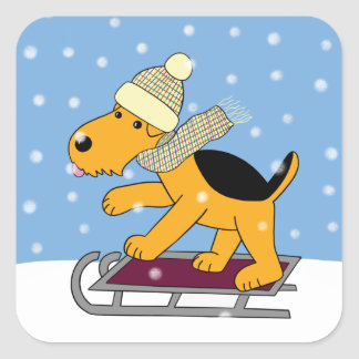 Cão bonito de Kawaii Airedale Terrier na etiqueta