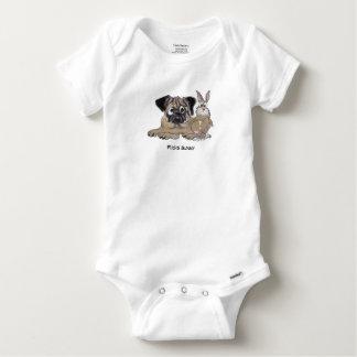 Cão bonito dos desenhos animados do coelho do Pug Body Para Bebê