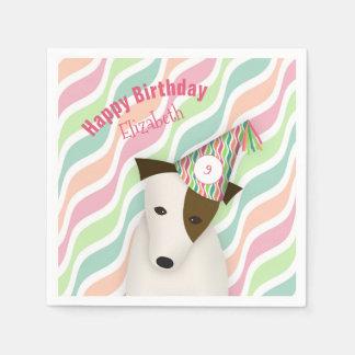cão bonito que veste o aniversário de uma menina guardanapo de papel