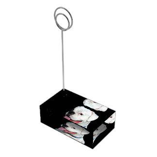 Cão branco do pugilista suportes para cartão de mesa