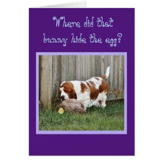 Cão, coelho, & ovo engraçados do cartão de páscoa