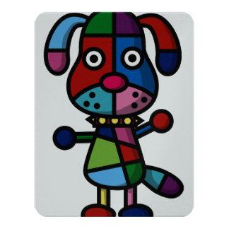 cão colorido convite 10.79 x 13.97cm