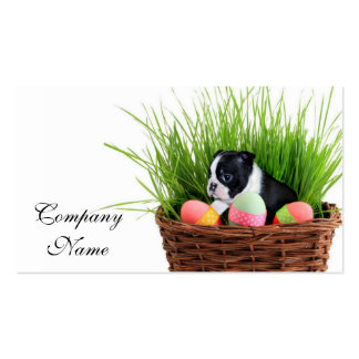 Cão de Boston Terrier da páscoa Cartão De Visita