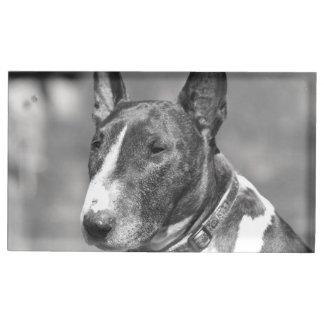 Cão de bull terrier suportes para cartão de mesa