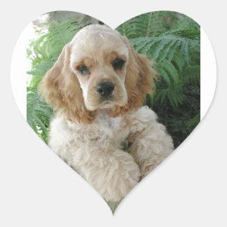 Cão de cocker spaniel do americano e a samambaia adesivo coração