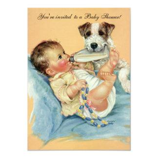 Cão de filhote de cachorro bonito da garrafa de convite 11.30 x 15.87cm