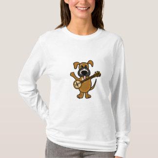 Cão de filhote de cachorro bonito do BR que joga o Camiseta