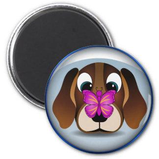 Cão de filhote de cachorro bonito do lebreiro e ímã redondo 5.08cm