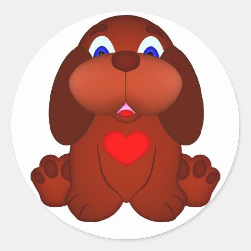 Cão de filhote de cachorro com coração vermelho adesivos redondos