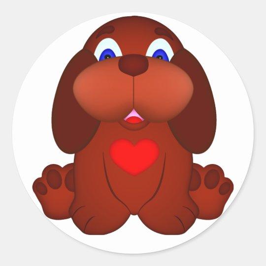 Cão de filhote de cachorro com coração vermelho adesivo