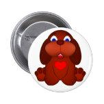 Cão de filhote de cachorro com coração vermelho botons
