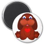 Cão de filhote de cachorro com coração vermelho imãs de refrigerador