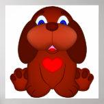 Cão de filhote de cachorro com coração vermelho poster