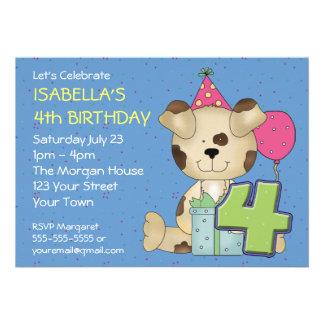 Cão de filhote de cachorro do aniversário do costu convite personalizado