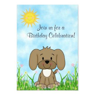 Cão de filhote de cachorro e convite do convite 12.7 x 17.78cm