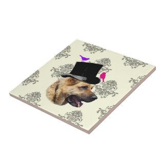 Cão de german shepherd engraçado azulejo quadrado pequeno