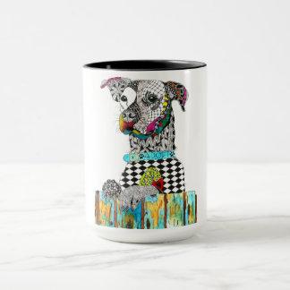 Cão de Jack Russell em uma caneca de 15 onças