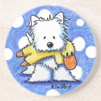 Cão de KiniArt Westie e porta copos do brinquedo d