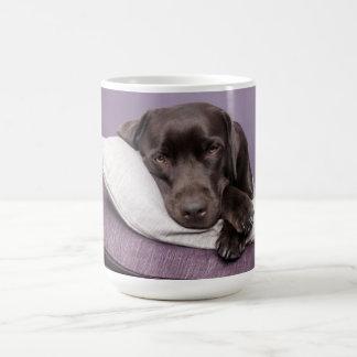 Cão de labrador retriever do chocolate sonolento caneca de café