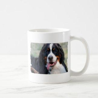 Cão de montanha de Bernese com a caneca de café