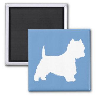 Cão de Westie (branco) Ímã Quadrado