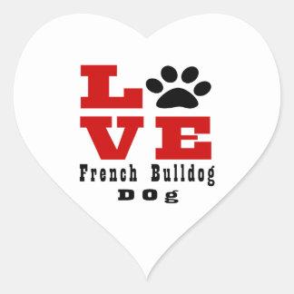 Cão Designes do buldogue francês do amor Adesivo Coração