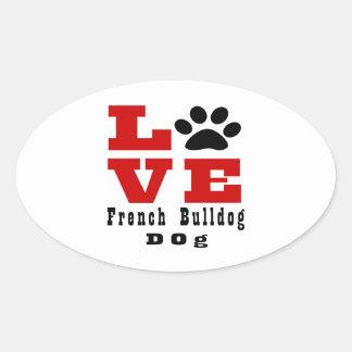 Cão Designes do buldogue francês do amor Adesivo Oval