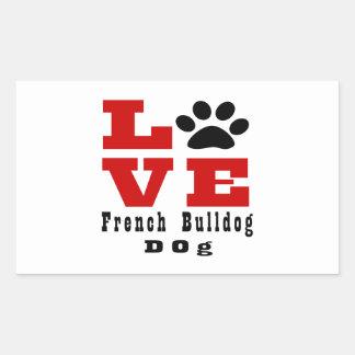 Cão Designes do buldogue francês do amor Adesivo Retangular