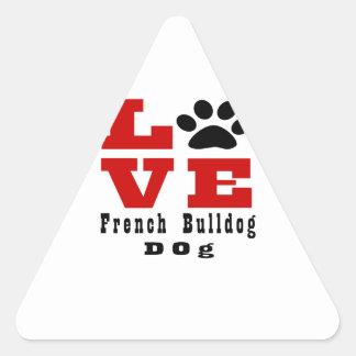 Cão Designes do buldogue francês do amor Adesivo Triangular