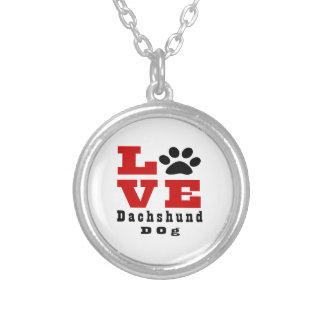 Cão Designes do Dachshund do amor Colar Banhado A Prata