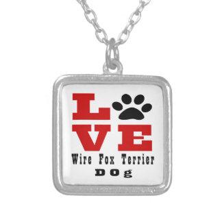 Cão Designes do Fox Terrier do fio do amor Colar Banhado A Prata