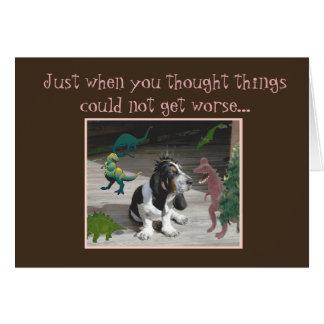 Cão & dinossauros engraçados do cartão de