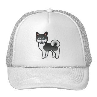 Cão do Alasca preto e branco dos desenhos animados Boné