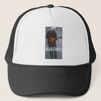 """Cão do """"Bluegrass"""" - com o chapéu do camionista do Boné"""