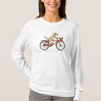 Cão do ciclismo com esquilo - arte do animal do camiseta