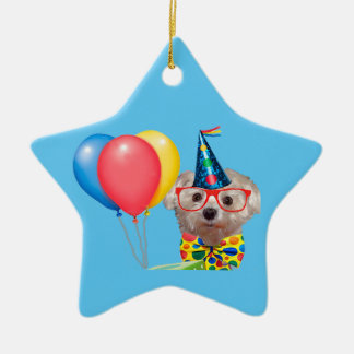 Cão do feliz aniversario ornamento de cerâmica estrela