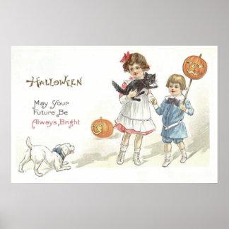 Cão do gato preto da lanterna de Jack O das Poster