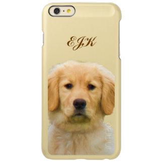 Cão do golden retriever, monograma capa incipio feather® shine para iPhone 6 plus