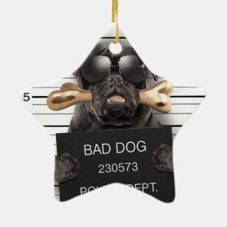Cão do Mugshot, pug engraçado, pug Ornamento De Cerâmica