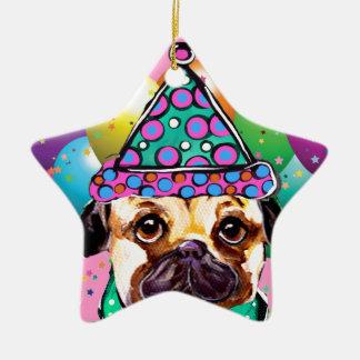 Cão do partido do Pug Ornamento De Cerâmica